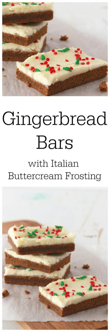 Gingerbread Bars with Italian Buttercream Frosting on www.cookingwithruthie.com bring all your favorite holiday flavors together in an easy to make bar!
