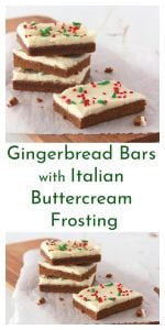 Gingerbread Bars with Italian Buttercream Frosting by www.whatscookingwithruthie.com