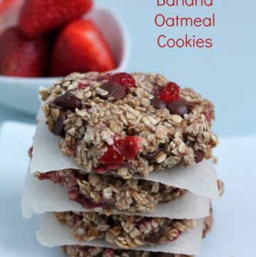 Strawberry Banana Oatmeal Cookies by www.asweetbaker.com on www.whatscookingwithruthie.com