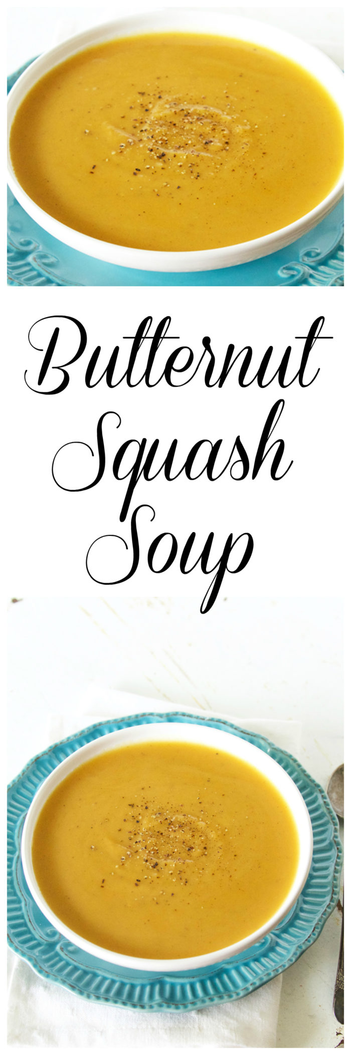 Butternut Squash Soup on www.cookingwithruthie.com is the perfect recipe to keep you warm and cozy this fall and winter!