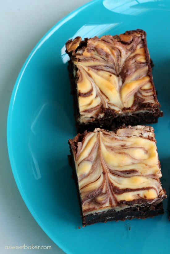 Almond Cheese Swirled Brownie by www.asweetbaker.com on www.whatscookingwithruthie