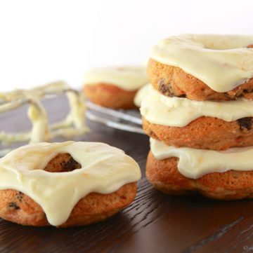 Baked Carrot Cake Donuts with Orange Cream Cheese Glaze by www.whatscookingwithruthie.com