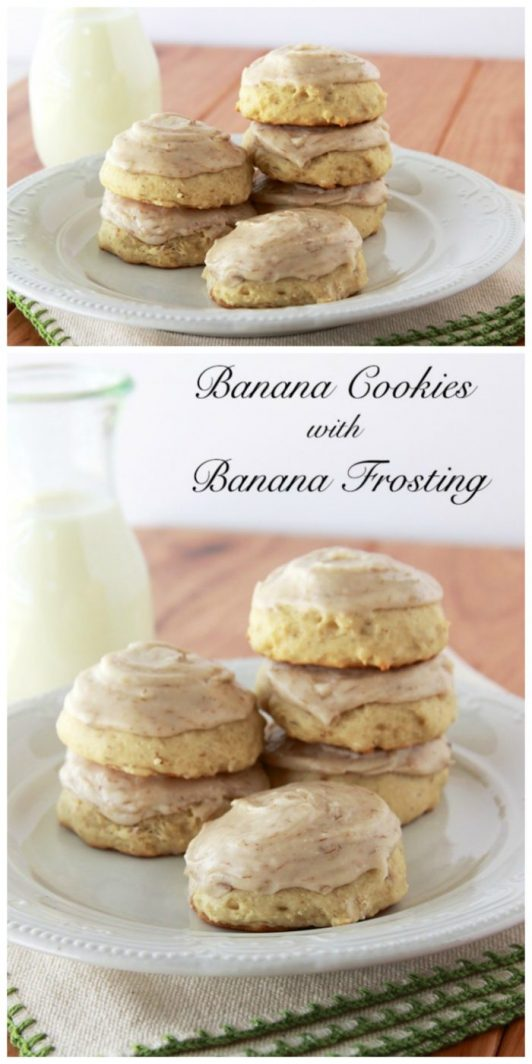 Banana Cookies with Banana Frosting on www.cookingwithruthie.com are the BEST way to use up those over-ripe bananas!