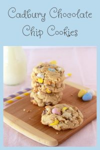 Our Cadbury Chocolate Chip Cookies Recipe are thick, chewy, and every bite is filled with three kinds of mouth-watering chocolate! Cadbury egg chocolate chip cookies have been a favorite of ours for decades and we're really excited to share them with you today. I'm warning you now, these cadbury egg cookies are so darn good that you'll be addicted from the first bite! || cookingwithruthie.com #chocolatechipcookies #cadburychocolatechipcookies #cadburycookies