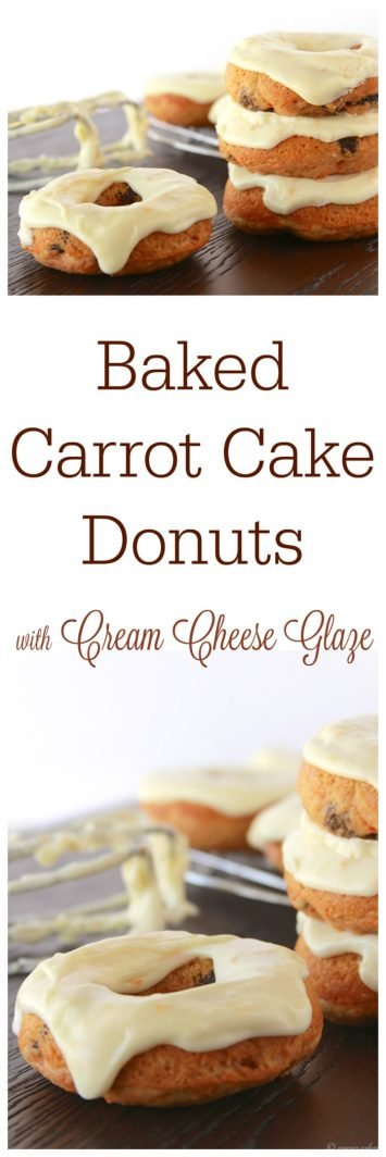 Baked Carrot Cake Donuts with Cream Cheese Glaze on www.cookingwithruthie.com tastes just like carrot cake but so much more simple to make!