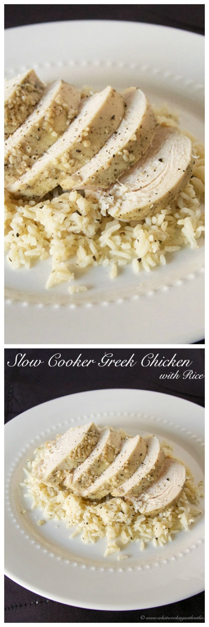 Slow Cooker Greek Chicken with Rice on www.cookingwithruthie.com is a delicious weeknight recipe!