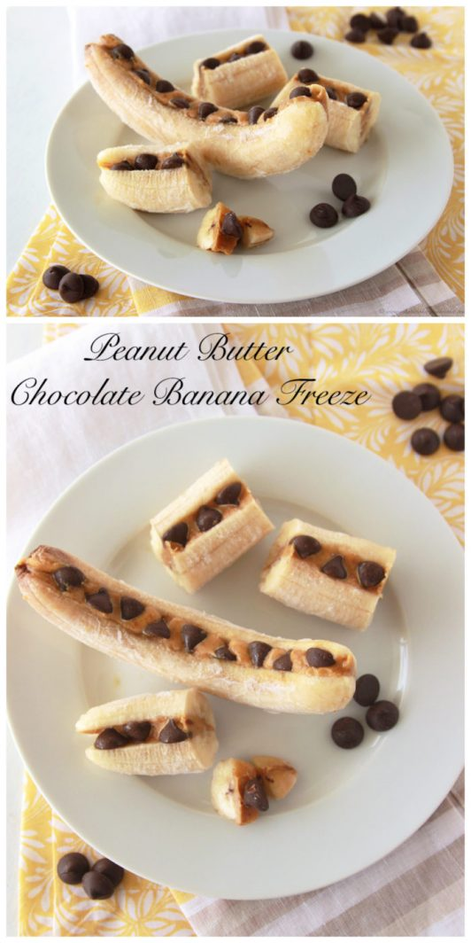 You'll totally love this Peanut Butter Chocolate Banana Freeze by www.cookingwithruthie.com it's the perfect healthy snack anytime of year!
