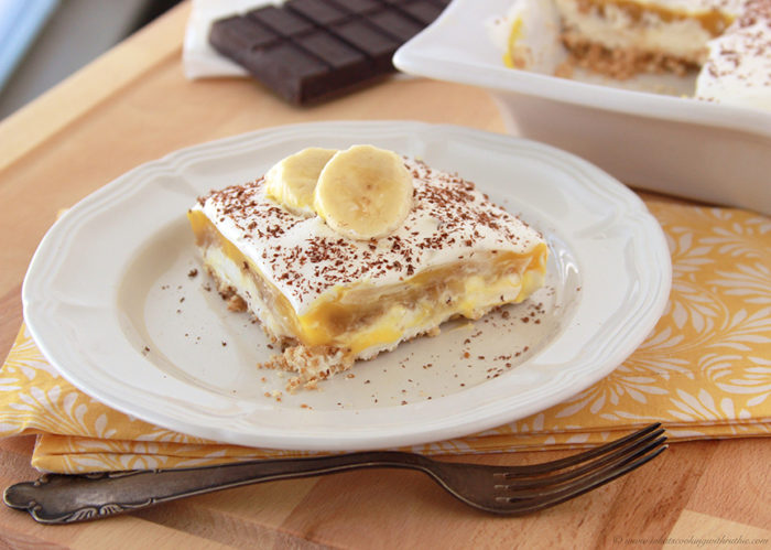 Banana Fosters Pudding Squares by www.whatscookingwithruthie.com