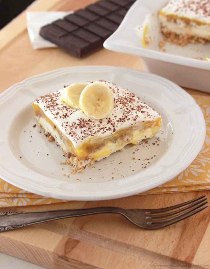 Banana Foster Pudding Squares by www.whatscookingwithruthie.com