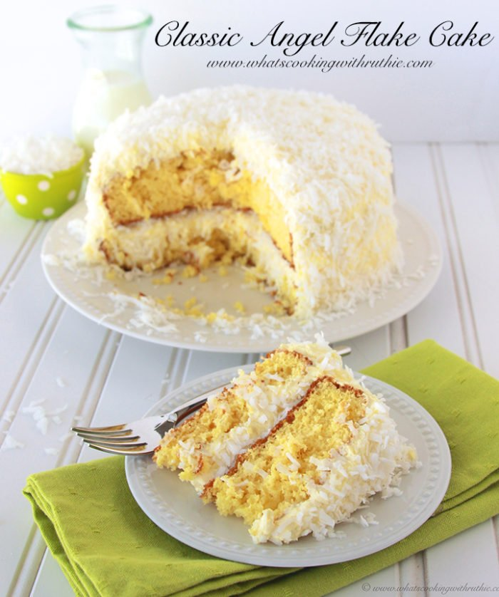 Classic Angel Flake Cake (kraft) by www.whatscookingwithruthie.com