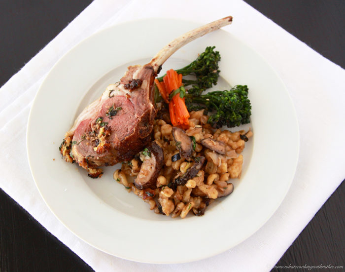 Lamb Chop with Mushroom Spaetzle on www.whatscookingwithruthie.com