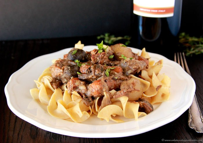 Slow Cooker Beef Burgundy by www.whatscookingwithruthie.com