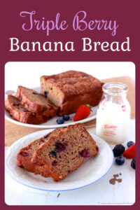 Our Triple Berry Banana Bread Recipe has some of my favorite reducing calories/fat tricks in it. You'll never be able to taste any of these healthier changes but your waistline will definitely thank you. Today's recipe is made with banana, canela, vanilla, fresh berries, sugar and some more ingredients. Enjoy without the guilt! #bananabread #healthyrecipe #caloriesreduced