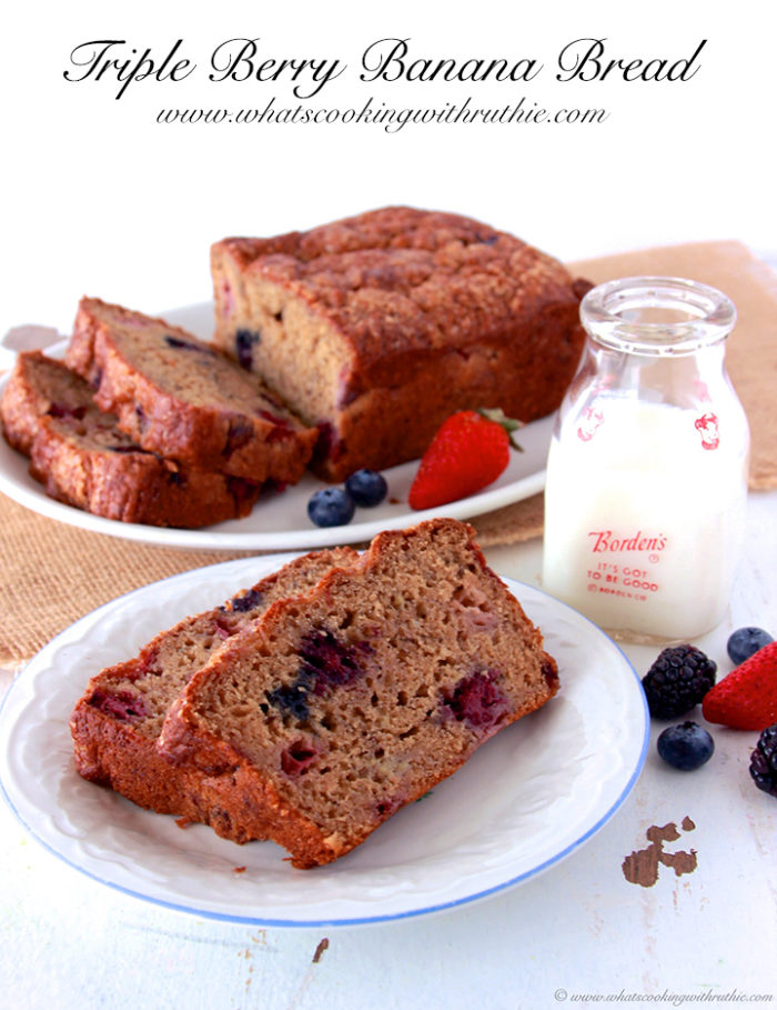 Triple Berry Banana Bread by www.whatscookingwithruthie.com