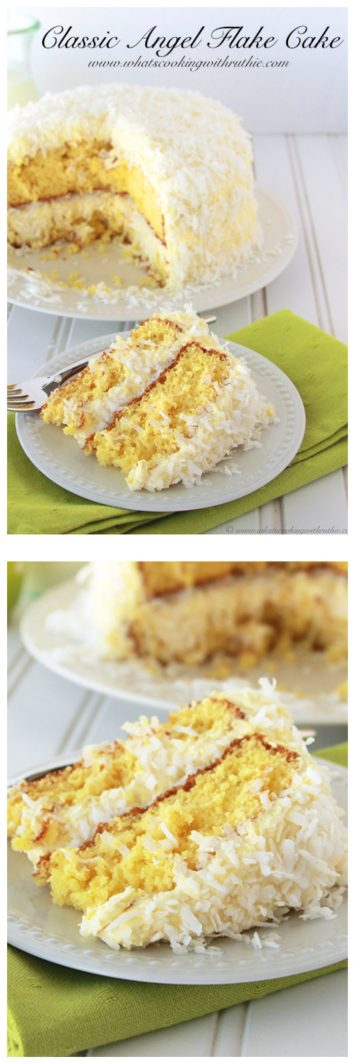 Classic Angel Flake Cake on www.cookingwithruthie.com is as beautiful as it is tasty!