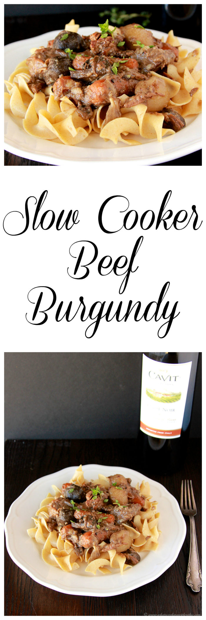 Slow Cooker Beef Burgundy on www.cookingwithruthie.com is one of our families favorite dinners- beef and vegetables over pasta is just wonderful!