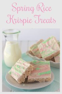Our Spring Rice Krispie Treats Recipe are a classic treat with a lovely white chocolate springtime flavor pop added on top! We're huge fans of rice krispie treats because they're so simple to make! Our spring rice krispies are made in the microwave, so they're ready in just a few minutes. We bring in all the freshness of springtime in an easy recipe that your family and friends will love!    cookingwithruthie.com #ricekrispietreats #ricekrispiesrecipe