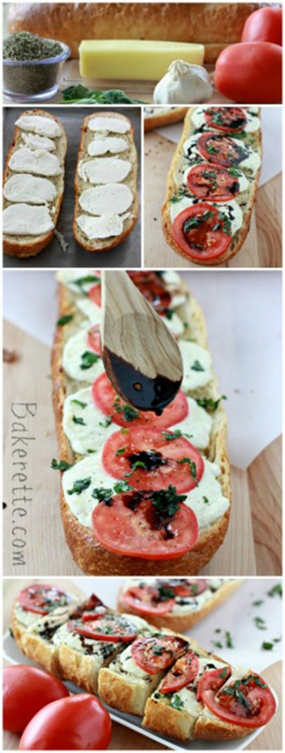 Caprese Garlic Bread by www.bakerette.com on www.whatscookingwithruthie.com