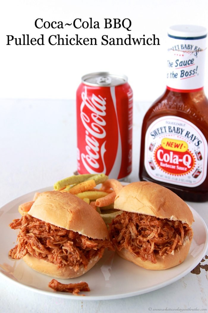 This simple to make but oh so tasty Coca-Cola BBQ Pulled Chicken Sandwich Recipe that was just perfect for our recent gathering! by cookingwithruthie.com