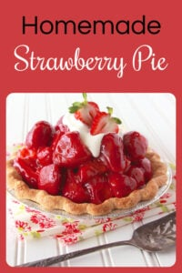 Did you know Strawberry Pies are easy-peasy to make at home? Oh and they taste about a million times better too, and our Homemade Strawberry Pie Recipe is perfect for the springtime. The flavors of the strawberries with the lemon juice are the perfect match!    cookingwithruthie.com #springdessert #springrecipe #homemadepie #strawberrypie