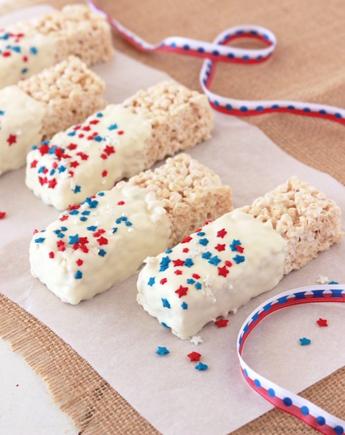 Patriotic Rice Krispie Treats by www.whatscookingwithruthie.com