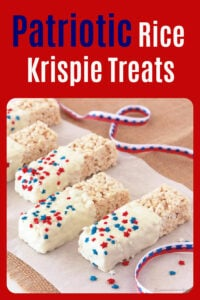 Our Patriotic Rice Krispie Treats Recipe will get you and the kiddos in the mood for yummy summer-time treats! Everyone loves this easy recipe because our rice krispie treats are made in the microwave and they STAY SOFT! Rice Krispies, marshmallows, and a dab of butter in a microwave safe bowl and you are on your way! #independenceday #4thofjuly #freedom #4thofjulyrecipe
