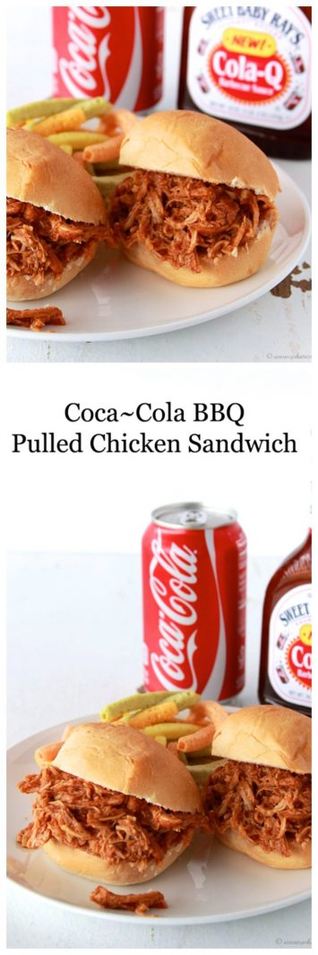 Coca~Cola BBQ Chicken Sandwich on www.cookingwithruthie.com is 4 ingredients to a delicious dinner!