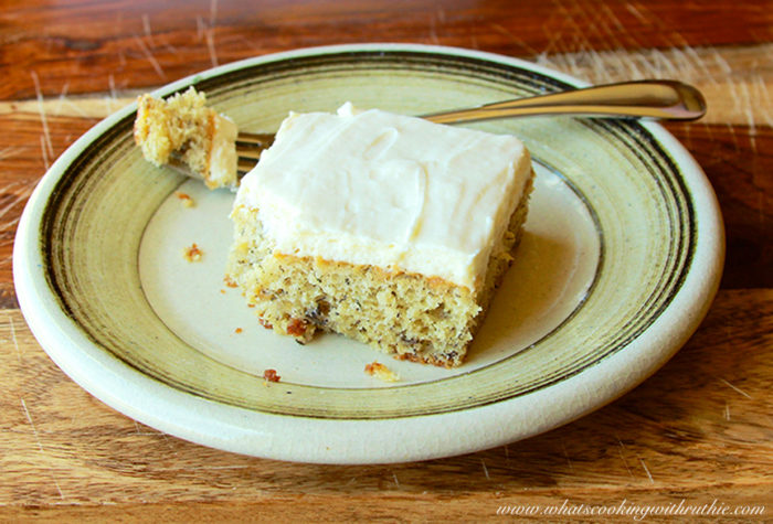 Banana Cake with Cream Cheese Frosting and Deadmans Cabin on www.whatscookingwithruthie.com