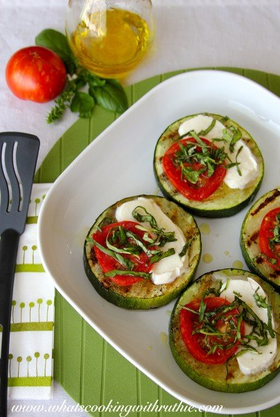 Grilled Zucchini Bruschetta by www.whatscookingwithruthie.com