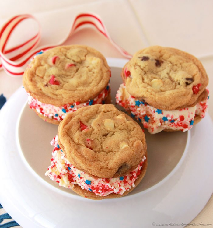 Patriotic Ice Cream Sandwich by www.whatscookingwithruthie.com