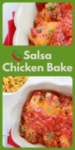 With just a few minutes and very few ingredients we have a great meal ready to serve! Everyone will lick their plates clean and have no idea how simple cooking this dinner really is! Just choose your favorite salsa and combine it with the cheese... and that's it for this Salsa Chicken Bake!    cookingwithruthie.com #mexicanfood #mexicanrecipe #simpleanddelicious