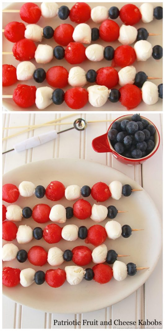 Patriotic Fruit and Cheese Kabobs on www.cookingwithruthie.com will be a hit at all of your summer BBQ's this year!