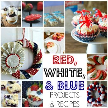 red, white, blue projects and recipes on www.whatscookingwithruthie.com