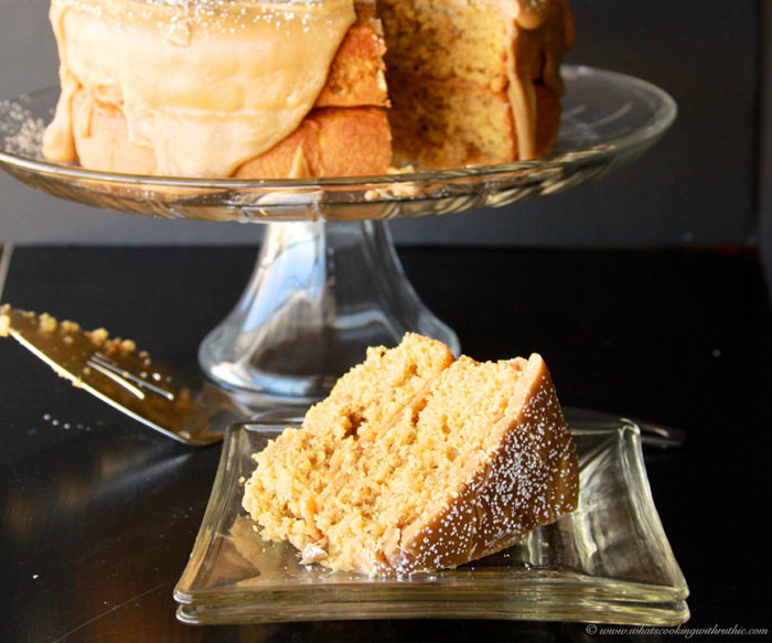 Banana Caramel Cake with Browned Butter Frosting by www.whatscookingwithruthie.com