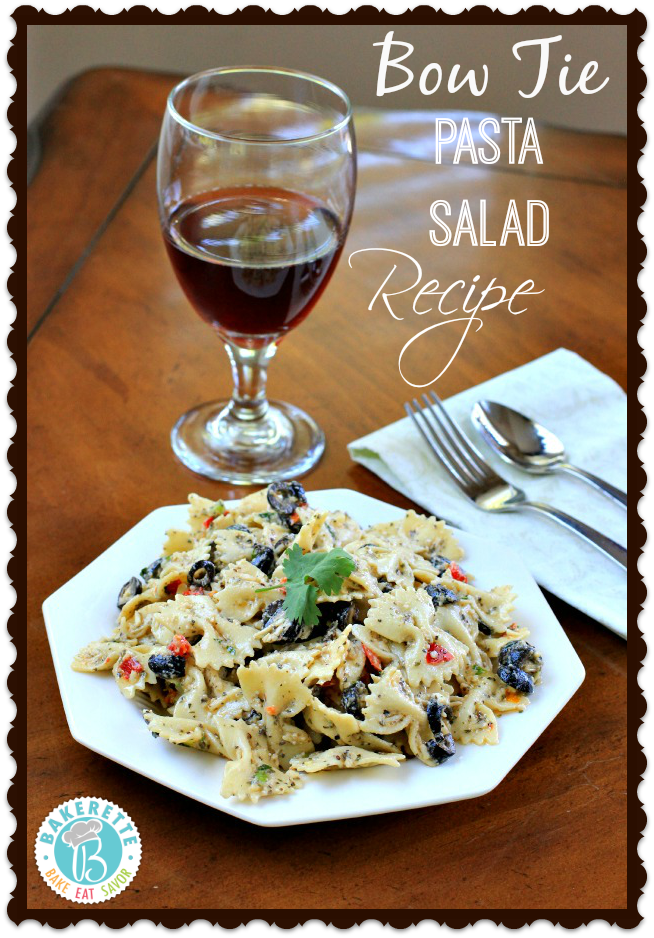 Bow Tie Pasta Salad by www.bakerette.com on www.whatscookingwithruthie.com