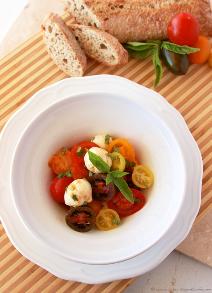 Heirloom Tomato Caprese Salad by  www.whatscookingwithruthie.com