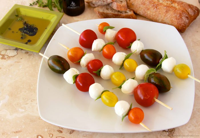 Heirloom Tomatoes Caprese Kabobs by www.cookingwithruthie.com