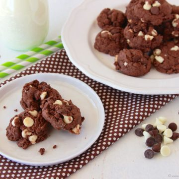 Triple Chocolate Cake Mix Cookies by www.whatscookingwithruthie.com