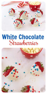 Our White Chocolate Strawberries Recipe are a festive way to celebrate the fourth of July! Today, I'm sharing how to make white chocolate dipped strawberries in the microwave! It's a simple way to make white chocolate covered strawberries–we're adding some patriotic sprinkles to make them cute and festive! #4thofjuly #patrioticday #chocolatestawberries #simpletomake    cookingwithruthie.com