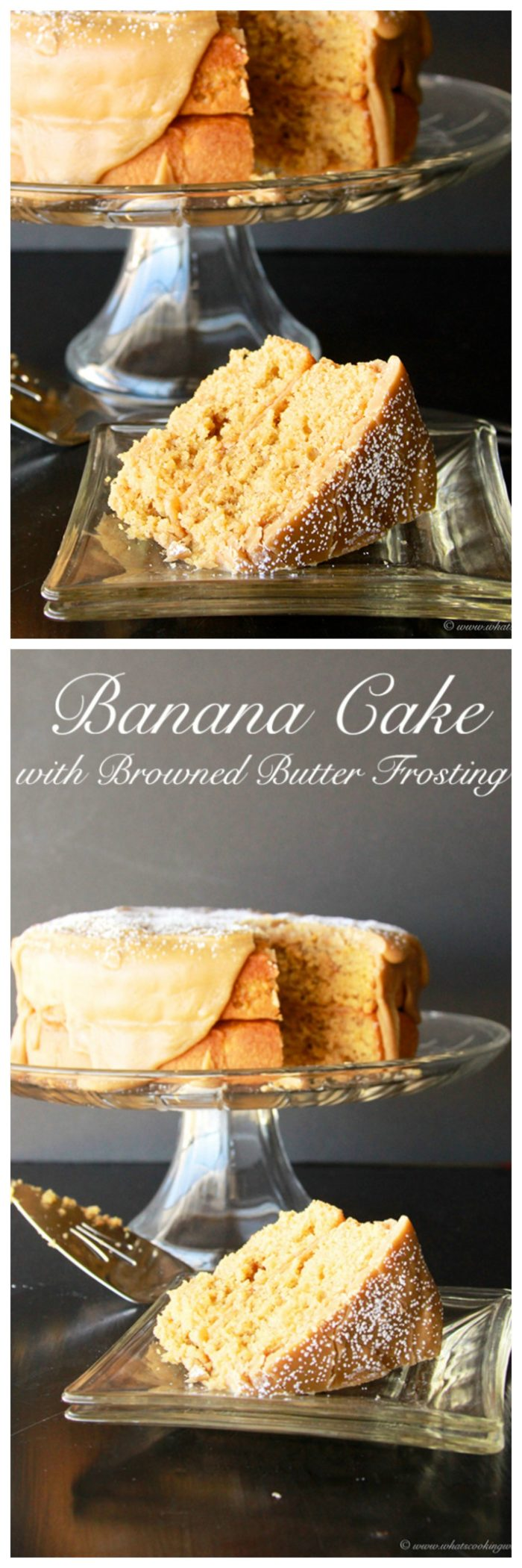Our Banana Cake with Browned Butter Frosting Recipe is a simply lovely cake to celebrate any occasion!by cookingwithruthie.com