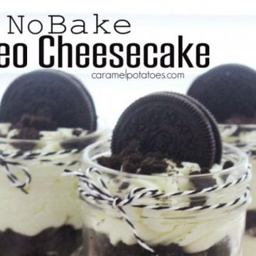 No Bake Oreo Cheesecake by www.caramelpotatoes.com on www.cookingwithruthie.com