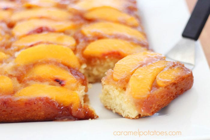 Our Peach Upside-Down Cake Recipe will be a favorite at your house--it's a tried and true peaches baking recipe! by cookingwithruthie.com