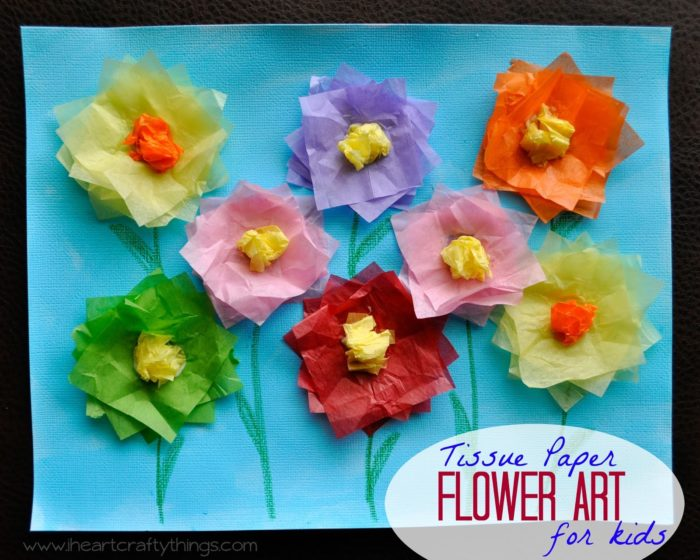Tissue Paper Flower Art by www.iheartcraftythings.com on www.cookingwithruthie.com