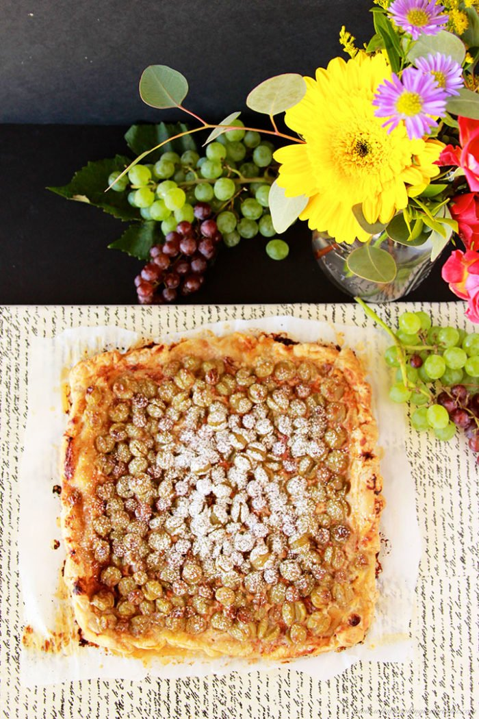 Grape Mascarpone Rustic Tart by www.cookingwithruthie.com