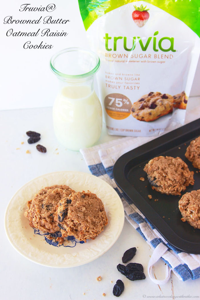 Truvia Browned Butter Oatmeal Raisin Cookies by www.cookingwithruthie.com