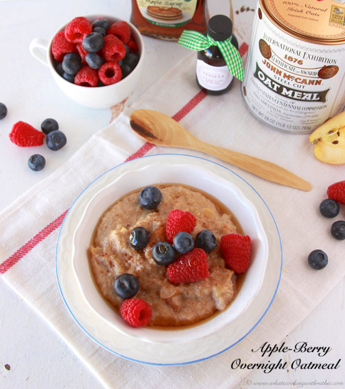 Apple-Berry Overnight Oatmeal by www.cookingwithruthie.com