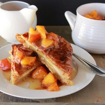 Baked French Toast with Peaches and Butter Syrup by www.cookingwithruthie.com