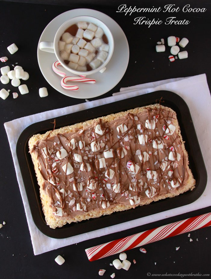 Peppermint Hot Cocoa Krispie Treats by www.cookingwithruthie.com