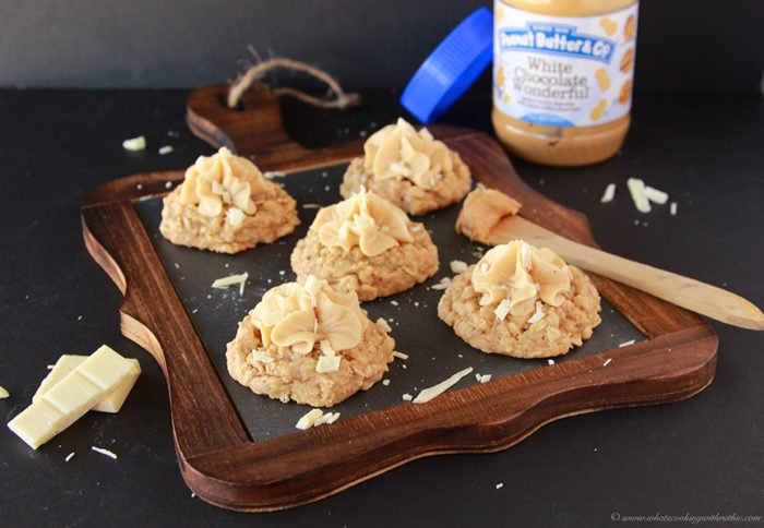 White Chocolate Oatmeal Peanut Butter Cookies by www.cookingwithruthie.com