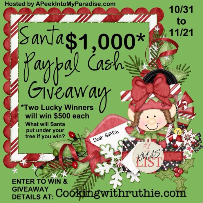Santa Paypal Cash Giveaway on www.cookingwithruthi.com